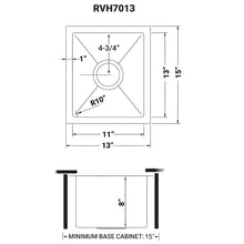 "Load image into Gallery viewer, Ruvati 13"" x 15"" Undermount Bar Prep Tight Radius 16 Gauge Kitchen Sink Stainless Steel Single Bowl - RVH7013"