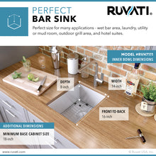 "Load image into Gallery viewer, Ruvati 16"" Undermount 16 Gauge Zero Radius Bar Prep Sink Stainless Steel Single Bowl - RVH7111"