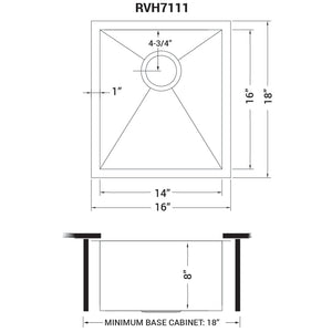 "Ruvati 16"" Undermount 16 Gauge Zero Radius Bar Prep Sink Stainless Steel Single Bowl - RVH7111"
