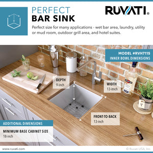 "Ruvati 15"" Square Undermount 16 Gauge Zero Radius Bar Prep Kitchen Sink Single Bowl - RVH7115"