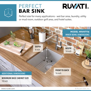 "Ruvati 16"" x 18"" Undermount Bar Prep Tight Radius 16 Gauge Kitchen Sink Stainless Steel Single Bowl - RVH7116"