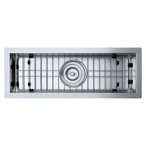 "Ruvati 23"" x 8"" Bar Prep Sink Narrow Trough Undermount 16 Gauge Stainless Steel Single Bowl - RVH7120"