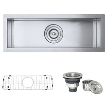 "Load image into Gallery viewer, Ruvati 23"" x 8"" Bar Prep Sink Narrow Trough Undermount 16 Gauge Stainless Steel Single Bowl - RVH7120"