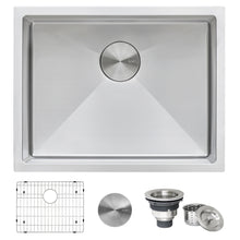 "Load image into Gallery viewer, Ruvati 21"" Undermount Tight Radius 16 Gauge Stainless Steel Bar Prep Kitchen Sink Single Bowl - RVH7121"