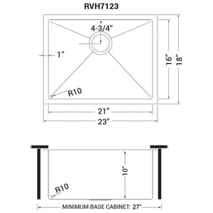"Ruvati 23"" Undermount 16 Gauge Tight Radius Stainless Steel Kitchen Sink Single Bowl - RVH7123"