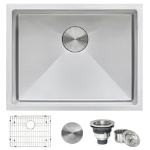 "Load image into Gallery viewer, Ruvati 23"" Undermount 16 Gauge Tight Radius Stainless Steel Kitchen Sink Single Bowl - RVH7123"