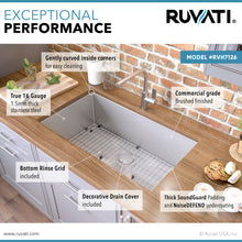 "Load image into Gallery viewer, Ruvati 26"" Undermount 16 Gauge Tight Radius Stainless Steel Kitchen Sink Single Bowl - RVH7126"