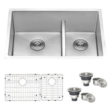 "Load image into Gallery viewer, Ruvati 28"" Low-Divide Undermount Tight Radius 60/40 Double Bowl 16 Gauge Stainless Steel Kitchen Sink - RVH7255"