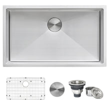 "Load image into Gallery viewer, Ruvati 30"" Undermount 16 Gauge Tight Radius Kitchen Sink Stainless Steel Single Bowl - RVH7300"