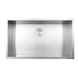 "Ruvati RVH7405 32"" Undermount 16 Gauge Zero Radius Kitchen Sink Stainless Steel Single Bowl"