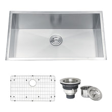 "Load image into Gallery viewer, Ruvati RVH7405 32"" Undermount 16 Gauge Zero Radius Kitchen Sink Stainless Steel Single Bowl"