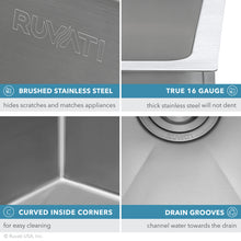 "Load image into Gallery viewer, Ruvati 33"" Undermount 16 Gauge Tight Radius Large Kitchen Sink Stainless Steel Single Bowl - RVH7433"