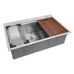"Ruvati 33"" x 22"" Workstation Ledge Drop-in Tight Radius 16 Gauge Stainless Steel Kitchen Sink Single Bowl - RVH8003"