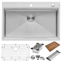 "Load image into Gallery viewer, Ruvati 33"" x 22"" Workstation Ledge Drop-in Tight Radius 16 Gauge Stainless Steel Kitchen Sink Single Bowl - RVH8003"
