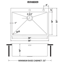 "Load image into Gallery viewer, Ruvati 30"" x 22"" Drop-in Tight Radius Topmount 16 Gauge Stainless Steel Kitchen Sink Single Bowl - RVH8009"