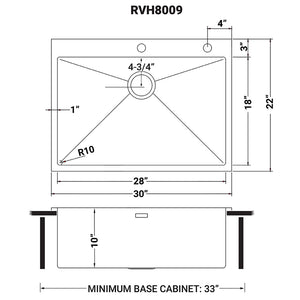 "Ruvati 30"" x 22"" Drop-in Tight Radius Topmount 16 Gauge Stainless Steel Kitchen Sink Single Bowl - RVH8009"