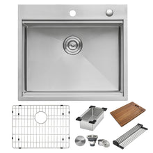 "Load image into Gallery viewer, Ruvati 25"" x 22"" Workstation Drop-in Tight Radius Topmount 16 Gauge Stainless Steel Ledge Kitchen Sink Single Bowl - RVH8023"