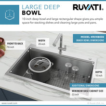 "Load image into Gallery viewer, Ruvati 30"" x 22"" Workstation Drop-in Tight Radius Topmount 16 Gauge Ledge Stainless Steel Kitchen Sink Single Bowl - RVH8030"