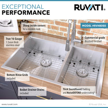 "Load image into Gallery viewer, Ruvati 33"" x 22"" Drop-in 60/40 Double Bowl 16 Gauge Zero Radius Topmount Stainless Steel Kitchen Sink - RVH8050"