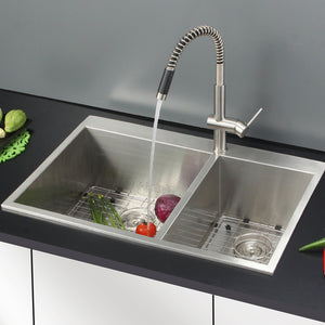 "Ruvati 33"" x 22"" Drop-in 60/40 Double Bowl 16 Gauge Zero Radius Topmount Stainless Steel Kitchen Sink - RVH8050"