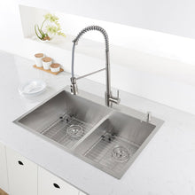 "Load image into Gallery viewer, Ruvati 33"" x 22"" Drop-in 50/50 Double Bowl Tight Radius 16 Gauge Topmount Stainless Steel Kitchen Sink - RVH8051"