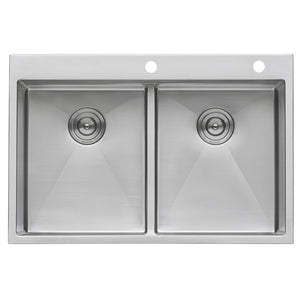"Ruvati 33"" x 22"" Drop-in 50/50 Double Bowl Tight Radius 16 Gauge Topmount Stainless Steel Kitchen Sink - RVH8051"
