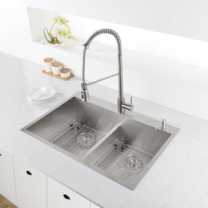 "Ruvati 33"" Drop-in Low-Divide Zero Radius 50/50 Double Bowl 16 Gauge Topmount Kitchen Sink - RVH8055"