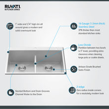 "Load image into Gallery viewer, Ruvati 33"" Drop-in Low-Divide Zero Radius 50/50 Double Bowl 16 Gauge Topmount Kitchen Sink - RVH8055"