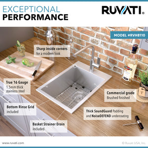 "Ruvati 15"" x 20"" Drop-in Topmount Bar Prep Sink 16 Gauge Stainless Steel Single Bowl - RVH8110"