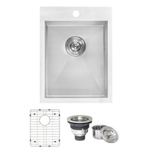 "Load image into Gallery viewer, Ruvati 15"" x 20"" Drop-in Topmount Bar Prep Sink 16 Gauge Stainless Steel Single Bowl - RVH8110"