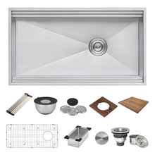 "Load image into Gallery viewer, Ruvati 33"" Workstation Two-Tiered Ledge Kitchen Sink Undermount 16 Gauge Stainless Steel - RVH8222"