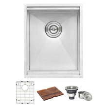 "Load image into Gallery viewer, Ruvati 15"" Workstation Bar Prep Sink Ledge Undermount 16 Gauge Stainless Steel Single Bowl - RVH8304"
