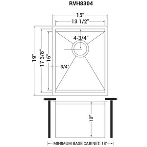 "Ruvati 15"" Workstation Bar Prep Sink Ledge Undermount 16 Gauge Stainless Steel Single Bowl - RVH8304"