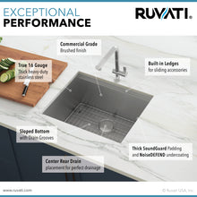 "Load image into Gallery viewer, Ruvati 21"" Workstation Bar Prep Sink Undermount 16 Gauge Ledge Stainless Steel Single Bowl - RVH8307"