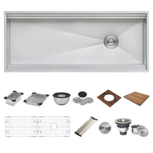 "Load image into Gallery viewer, Ruvati 45"" Workstation Two-Tiered Ledge Kitchen Sink Undermount 16 Gauge Stainless Steel - RVH8333"