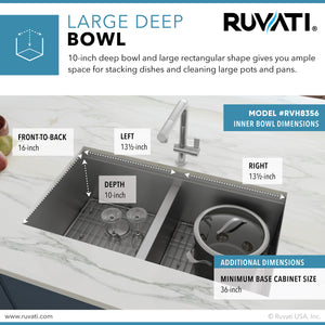 "Ruvati 33"" Workstation Ledge 60/40 Double Bowl Undermount 16 Gauge Stainless Steel Kitchen Sink - RVH8356"