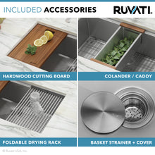 "Load image into Gallery viewer, Ruvati 33"" Workstation Ledge 60/40 Double Bowl Undermount 16 Gauge Stainless Steel Kitchen Sink - RVH8356"