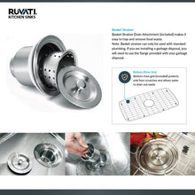 "Load image into Gallery viewer, Ruvati 35"" Triple Bowl Undermount 16 Gauge Stainless Steel Kitchen Sink - RVH8500"