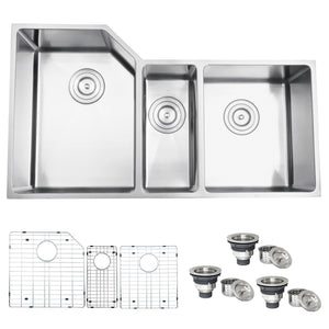 "Ruvati Undermount 16 Gauge 34"" Kitchen Sink Triple Bowl - RVH8550"