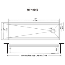 "Load image into Gallery viewer, Ruvati 57"" Workstation Two-Tiered Ledge Kitchen Sink Undermount 16 Gauge Stainless Steel - RVH8555"