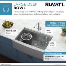 "Load image into Gallery viewer, Ruvati 27"" Apron-front Workstation Farmhouse Kitchen Sink 16 Gauge Stainless Steel Single Bowl - RVH9050"