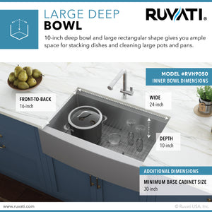 "Ruvati 27"" Apron-front Workstation Farmhouse Kitchen Sink 16 Gauge Stainless Steel Single Bowl - RVH9050"
