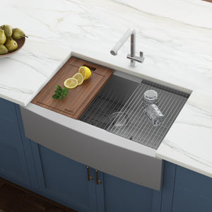 "Ruvati 36"" Apron-front Workstation Farmhouse Kitchen Sink 16 Gauge Stainless Steel Single Bowl - RVH9300"