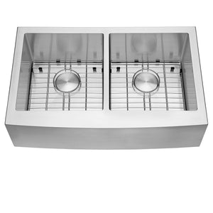 "Ruvati 33"" Farmhouse Apron-Front 50/50 Double Bowl Kitchen Sink Stainless Steel - RVH9540"