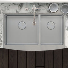 "Load image into Gallery viewer, Ruvati 33"" Farmhouse Apron-Front 50/50 Double Bowl Kitchen Sink Stainless Steel - RVH9540"