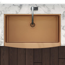 "Load image into Gallery viewer, Ruvati 30"" Apron-Front Farmhouse Stainless Steel Single Bowl Kitchen Sink - Copper Tone Matte RVH9660CP"