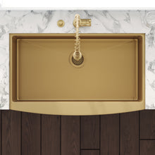 "Load image into Gallery viewer, Ruvati 30"" Apron-Front Farmhouse Stainless Steel Single Bowl Kitchen Sink - Brass Tone Matte RVH9660GG"