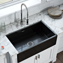 "Load image into Gallery viewer, Ruvati 30"" x 20"" Fireclay Reversible Farmhouse Apron-Front Kitchen Sink Single Bowl Glossy Black RVL2100BK"