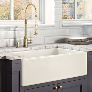 "Ruvati 30"" x 20"" Fireclay Reversible Farmhouse Apron-Front Kitchen Sink Single Bowl Biscuit RVL2100BS"