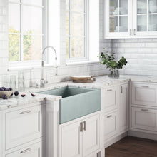 "Load image into Gallery viewer, Ruvati 30"" x 20"" Fireclay Reversible Farmhouse Apron-Front Kitchen Sink Single Bowl Horizon Gray RVL2100GR"